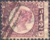 1870 ½d Rose SG48 Plate 4 'CW'